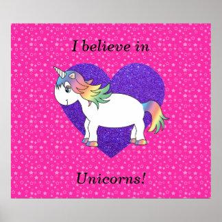 I believe in unicorns pink stars poster