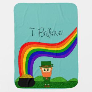 I Believe - Leprechaun -Change Color Stroller Blanket