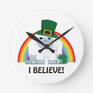 I Believe! Leprechaun Yeti Round Clock