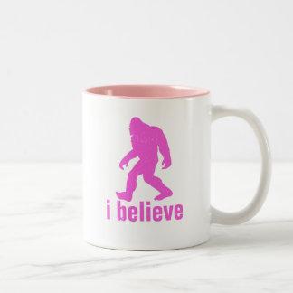 I believe - pink Silhouette Two-Tone Coffee Mug