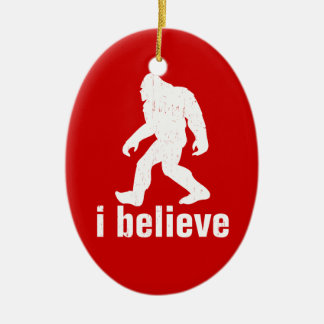 I Believe - red and white Ceramic Ornament