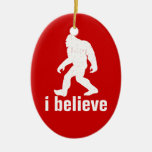 I Believe - red and white Double-Sided Oval Ceramic Christmas Ornament