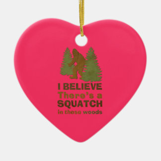 I believe there's a SQUATCH in these woods pink Double-Sided Heart Ceramic Christmas Ornament
