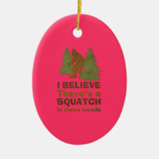 I believe there's a SQUATCH in these woods pink Double-Sided Oval Ceramic Christmas Ornament