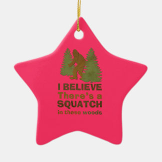 I believe there's a SQUATCH in these woods pink Double-Sided Star Ceramic Christmas Ornament