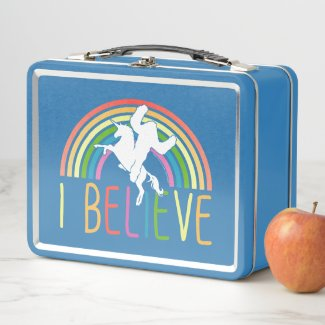 I Believe Unicorn Sasquatch Bigfoot Retro Vintage Metal Lunch Box