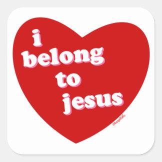 I belong to Jesus heart design Square Sticker
