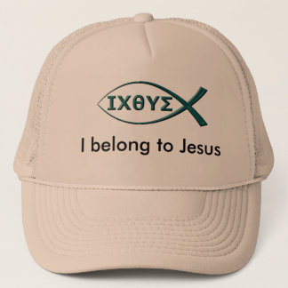 I Belong to Jesus Trucker Hat with Fish Symbol
