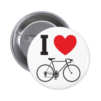 I bicicleta del corazón pin redondo de 2 pulgadas