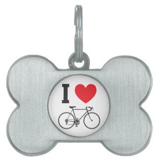 I bicicleta del corazón placas de mascota