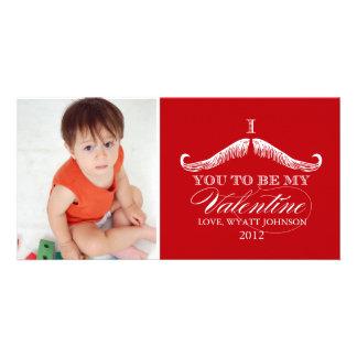 I bigote usted a ser mi tarjeta del día de San Val Tarjeta Con Foto Personalizada