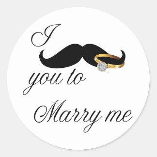 I bigote usted - casarme etiqueta redonda