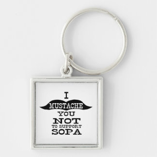 I bigote usted para no apoyar SOPA Llavero Cuadrado Plateado