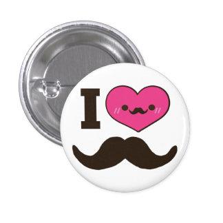 I bigotes del corazón pin redondo 2,5 cm