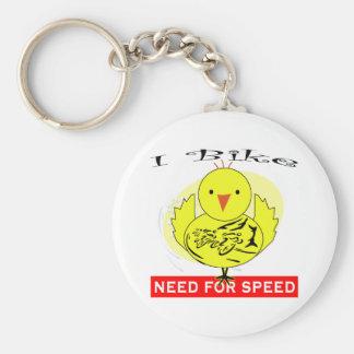 I Bike Basic Round Button Keychain