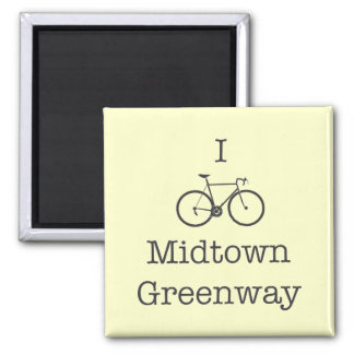 I Bike Midtown Greenway 2 Inch Square Magnet