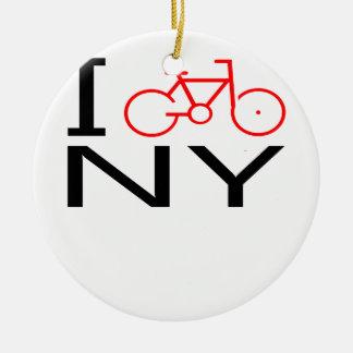 I Bike New York T-shirt Double-Sided Ceramic Round Christmas Ornament