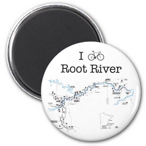 I Bike Root River 2 Inch Round Magnet