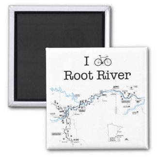 I Bike Root River 2 Inch Square Magnet