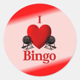 I bingo del corazón pegatina redonda