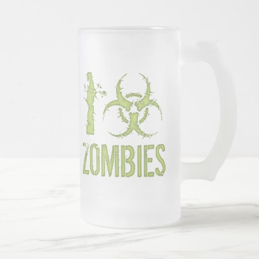I Biohazard Zombies Frosted Glass Beer Mug