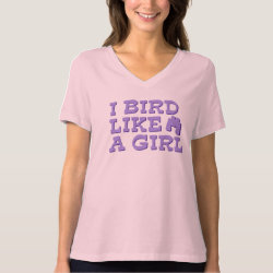 Women's Bella Relaxed Fit Jersey V-Neck T-Shirt with I Bird Like A Girl design