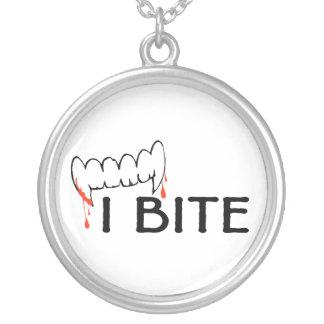 I Bite Round Pendant Necklace