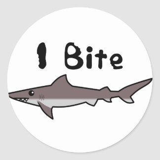 I Bite - Shark Classic Round Sticker