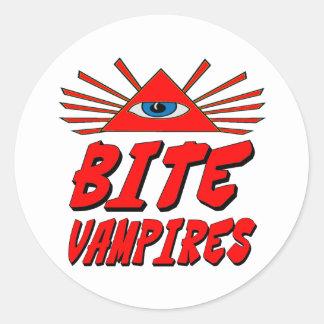I Bite Vampires Classic Round Sticker