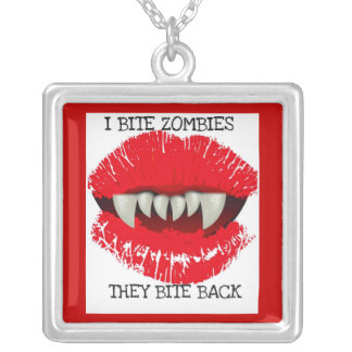 """""""I BITE ZOMBIES...THEY BITE BACK"""" VAMPIRE TEETH SQUARE PENDANT NECKLACE"""