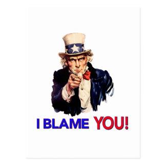 I Blame YOU - Vintage Uncle Sam Pointing Postcard