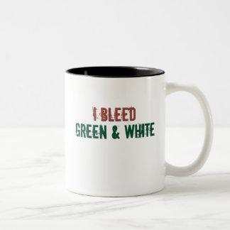 i bleed green and white Two-Tone coffee mug