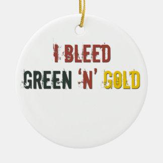 i bleed green n gold ceramic ornament