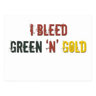 i bleed green n gold postcard