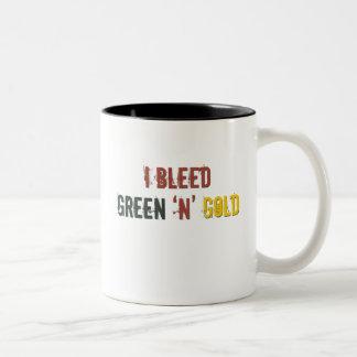 i bleed green n gold Two-Tone coffee mug