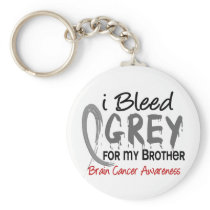 I Bleed Grey For My Brother Brain Cancer Keychain