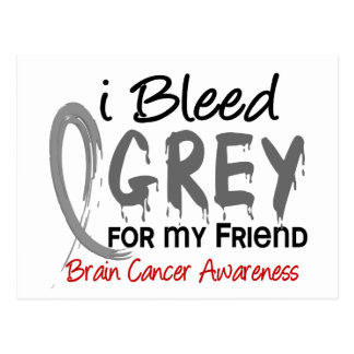 I Bleed Grey For My Friend Brain Cancer Postcard