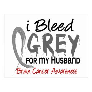 I Bleed Grey For My Husband Brain Cancer Postcard