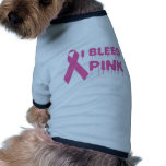 I Bleed Pink - Breast Cancer Awareness Ribbon Dog Tee Shirt