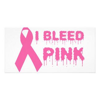 I Bleed Pink - Breast Cancer Awareness Ribbon Photo Card