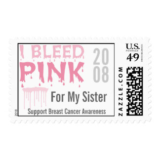 I Bleed Pink For My Sister Breast Cancer Awareness Postage Stamps