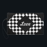 """I Bleed Racing Black White Checkered Customize It Wristlet<br><div class=""""desc"""">Do you bleed auto racing? Then ** Click Customize It Blue Button** To pick your item variations (ex: trim and sizes). Next personalize by adding your favorite photos, a name, Initial, or car number to your new item. Or leave it classic plain checkered flag design; it&#39;s up to you! **...</div>"""