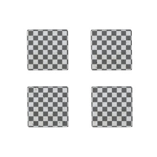 I Bleed Racing Check Black White Checkered Custom Stone Magnet