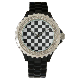 I Bleed Racing Check Black White Checkered Custom Wristwatch