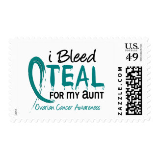 I Bleed Teal For My Aunt Ovarian Cancer Postage