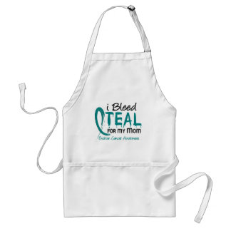 I Bleed Teal For My Mom Ovarian Cancer Adult Apron