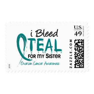 I Bleed Teal For My Sister Ovarian Cancer Postage