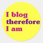 I blog por lo tanto estoy etiquetas redondas