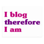 I blog por lo tanto estoy tarjeta postal