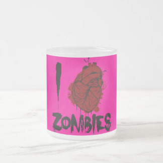 i bloody heart zombies frosted glass coffee mug